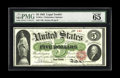 "Large Size:Legal Tender Notes, Fr. 61a $5 1862 Legal Tender PMG Gem Uncirculated 65 EPQ. In addition to the comments ""Exceptional Paper Quality"", this note..."