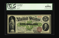 Fr. 62 $5 1862 Legal Tender PCGS New 62PPQ. A single serial number, the back design with the Second Obligation, and the...