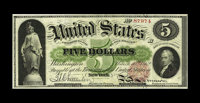 Fr. 62 $5 1862 Legal Tender About New. We are most pleased with the originality of the paper on this $5 Legal Tender. We...