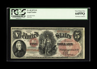 Fr. 68 $5 1875 Legal Tender PCGS Very Choice New 64PPQ. A handsome note that undoubtedly would have graded higher but fo...