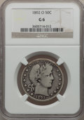 Barber Half Dollars: , 1892-O 50C Good 6 NGC. NGC Census: (30/232). PCGS Population(47/373). Mintage: 390,000. Numismedia Wsl. Price for problem ...