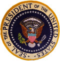 Political:Presidential Relics, Gerald Ford: Presidential Seal Hooked Rug Used in President Ford's Home Office in Rancho Mirage, California....
