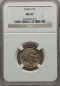 Buffalo Nickels: , 1920-S 5C MS62 NGC. NGC Census: (64/305). PCGS Population (42/375).Mintage: 9,689,000. Numismedia Wsl. Price for problem f...