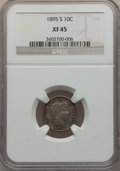Barber Dimes: , 1895-S 10C XF45 NGC. NGC Census: (4/141). PCGS Population (13/117).Mintage: 1,120,000. Numismedia Wsl. Price for problem f...