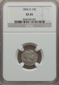 Barber Dimes: , 1896-O 10C XF45 NGC. NGC Census: (4/33). PCGS Population (10/52).Mintage: 610,000. Numismedia Wsl. Price for problem free ...