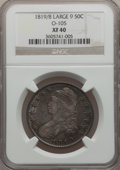 Bust Half Dollars, 1819/8 50C Large 9 XF40 NGC. O-105. NGC Census: (0/0). PCGSPopulation (26/130). (#6119)...