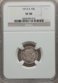 Barber Dimes: , 1913-S 10C VF30 NGC. NGC Census: (8/107). PCGS Population (19/177).Mintage: 510,000. Numismedia Wsl. Price for problem fre...