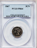 Proof Three Cent Nickels: , 1867 3CN PR64 PCGS. PCGS Population (94/62). NGC Census: (77/73).Mintage: 625. Numismedia Wsl. Price for problem free NGC/...