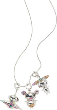 Louis Vuitton by Takashi Murakami Handmade Ultra Rare 18K White Gold Necklace with Three Diamond, Sapphire, Ruby & E...