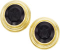 Estate Jewelry:Earrings, Black Onyx Intaglio, Gold Earrings, Elizabeth Locke. ...