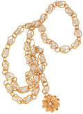 Luxury Accessories:Accessories, Chanel Pearl and Gold Chain Belt or Necklace with Medallion. ...