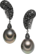 Estate Jewelry:Earrings, South Sea Cultured Pearl, Colored Diamond, White Gold Earrings. ...
