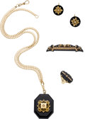 Estate Jewelry:Suites, Victorian Black Onyx, Cultured Pearl, Gold Mourning Jewelry Suite....