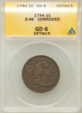 Large Cents, 1794 1C Head of 1795 -- Corroded -- ANACS. Good 6 Details. S-46.NGC Census: (12/410). PCGS Population (13/441). Mintage: ...