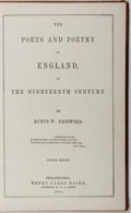 Books:Literature Pre-1900, Rufus W. Griswold. The Poets and Poetry of England, In theNineteenth Century. Henry Carey Baird, 1853. Fourth editi...