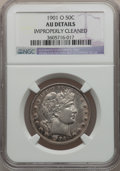 Barber Half Dollars: , 1901-O 50C -- Improperly Cleaned -- NGC Details. AU. NGC Census:(2/40). PCGS Population (1/40). Mintage: 1,124,000. Numism...