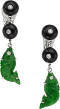 Estate Jewelry:Earrings, Jadeite Jade, Diamond, Onyx, White Gold Earrings. ...