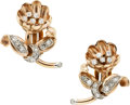 Estate Jewelry:Earrings, Retro Diamond, Gold Earrings. ...