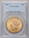 Liberty Double Eagles: , 1887-S $20 MS61 PCGS. PCGS Population (209/393). NGC Census:(322/214). Mintage: 283,000. Numismedia Wsl. Price for problem...