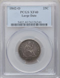 Seated Quarters: , 1842-O 25C Large Date XF40 PCGS. PCGS Population (5/47). NGCCensus: (0/19). Mintage: 769,000. Numismedia Wsl. Price for pr...
