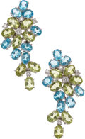 Estate Jewelry:Earrings, Diamond, Blue Topaz, Peridot, White Gold Earrings, Frei. ...