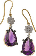 Estate Jewelry:Earrings, Amethyst, Black Diamond, Diamond, Gold Earrings, Frei. ...