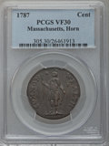 Colonials: , 1787 1C Massachusetts Cent, Horned Eagle VF30 PCGS. PCGS Population(12/44). NGC Census: (1/18). (#305)...