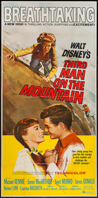 "Third Man on the Mountain & Other Lot (Buena Vista, 1959). Three Sheet (42"" X 84.5"") & Poster..."