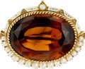 Estate Jewelry:Brooches - Pins, Victorian Citrine, Cultured Pearl, Enamel, Gold Brooch. ...