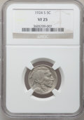 Buffalo Nickels: , 1924-S 5C VF25 NGC. NGC Census: (73/364). PCGS Population (72/530).Mintage: 1,437,000. Numismedia Wsl. Price for problem f...