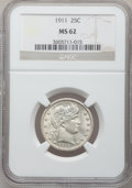 Barber Quarters: , 1911 25C MS62 NGC. NGC Census: (29/162). PCGS Population (48/226).Mintage: 3,720,543. Numismedia Wsl. Price for problem fr...