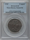 Colonials: , 1787 COPPER Nova Eborac Copper, Seated Right Fine 15 PCGS. PCGSPopulation (6/42). NGC Census: (1/9). (#475)...