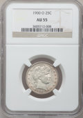 Barber Quarters: , 1900-O 25C AU55 NGC. NGC Census: (5/69). PCGS Population (9/67).Mintage: 3,416,000. Numismedia Wsl. Price for problem free...