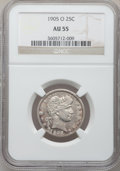 Barber Quarters: , 1905-O 25C AU55 NGC. NGC Census: (2/48). PCGS Population (4/79).Mintage: 1,230,000. Numismedia Wsl. Price for problem free...