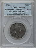 Colonials, 1722 PENNY Rosa Americana Penny, VTILE -- Tooled, Damage -- PCGSGenuine. AU Details. NGC Census: (0/2). PCGS Population (1...