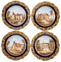 A SET OF FOUR FRENCH SÈVRES-STYLE PORCELAIN PLATES Maker unidentified, France, circa 1878 Pseudo Sèvres ma...