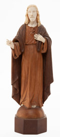 Decorative Arts, Continental:Other , A CONTINENTAL IVORY AND WOOD CARVED FIGURE OF CHRIST . T. Lanza,Italy, circa 1900. Marks: T. Lanza. 11-3/4 inches high ...