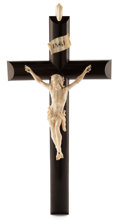 Decorative Arts, Continental:Other , AN ITALIAN IVORY AND EBONIZED WOOD CRUCIFIX . Maker unknown, Italy,19th century. Paper label (partially effaced). 20 x 10 x...