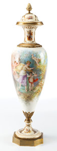 Decorative Arts, French:Other , A CHARLES FUCHS DECORATED FRENCH SÈVRES-STYLE PORCELAIN AND GILTBRONZE COVERED URN. Maker unidentified, France, circa 1880...