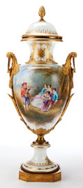 Paintings, A FRENCH SÈVRES-STYLE PORCELAIN AND GILT BRONZE COVERED URN . Maker unidentified, France, circa 1890. Marks: (interlaced L's...