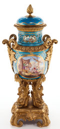 Decorative Arts, French:Other , A FRENCH SÈVRES-STYLE PORCELAIN AND GILT BRONZE COVERED VASE .Maker unknown, France, circa 1860. 23 inches high (58.4 cm). ...
