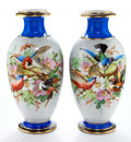 Decorative Arts, French:Other , A PAIR OF FRENCH PORCELAIN VASES . Maker unknown, France, circa1900. 12 inches high (30.5 cm). ... (Total: 2 Items)