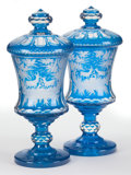Decorative Arts, Continental:Other , A PAIR OF BOHEMIAN BLUE FLASHED GLASS COVERED URNS . Maker unknown,Bohemia, circa 1850. 17-5/8 inches high x 7-1/2 inches d... (Total:4 Items)