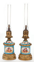 Decorative Arts, French:Lamps & Lighting, A PAIR OF FRENCH SÈVRES-STYLE PORCELAIN AND GILT BRONZE LAMPS .Maker unknown, France, circa 1865. 22-1/2 inches high (57.2 ...