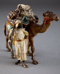 Bronze:European, A BERGMAN AUSTRIAN COLD PAINTED FIGURAL BRONZE GROUP: MERCHANT AND CAMEL . Franz Xavier Bergman (Austrian, 1861-1926...