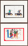 American Indian Art:Photographs, TWO CONTEMPORARY LEDGER DRAWINGS. John (Big Bear) Manes... (Total:2 Items)