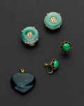 Estate Jewelry:Other , Jade Heart Pendant & Two Pair Of Earrings. ... (Total: 3 Items)