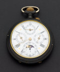 Timepieces:Pocket (post 1900), Swiss Fancy Dial Calendar & Moon Phase. ...