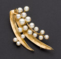 "Estate Jewelry:Brooches - Pins, ""Ming's"" Cultured Pearl & Gold Brooch. ..."
