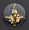 Estate Jewelry:Brooches - Pins, Estate Green Jade & Gold Pearl Brooch. ...